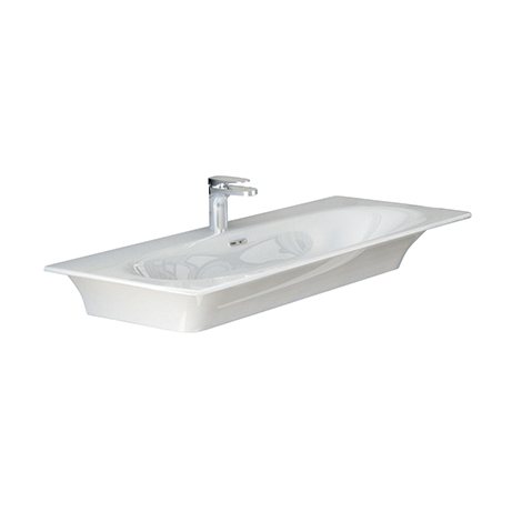 Flat 96 Bench/Inset Basin - Parisi (White/Black)