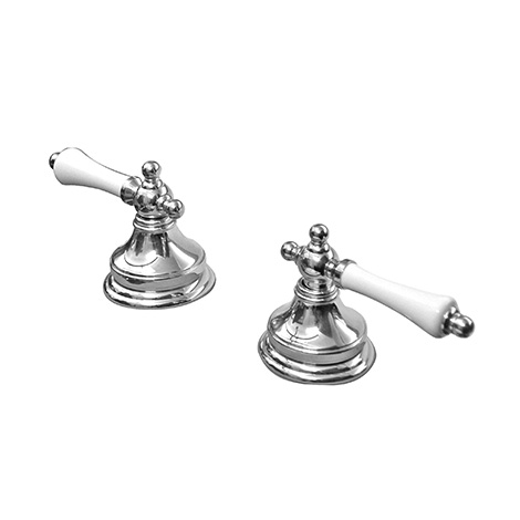 Hermitage Wall Top Assemblies Lever Handles (Pair) - Parisi (Chrome/Brushed Nickel)