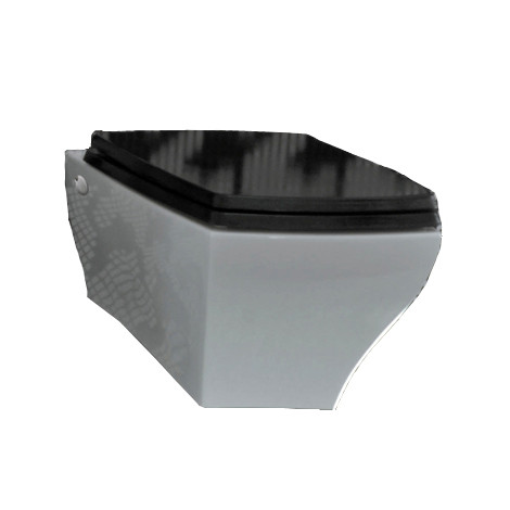 White Toilet With Black Seat. Jazz Wall Hung Pan  Parisi White ext Black Seat
